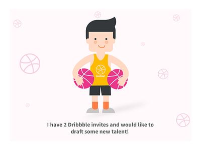 2 dribbble invites! dribbble new draft illustrator invite