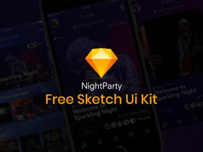 Nightparty | Free Sketch Ui Kit home screen sketch iphone ios event music night party night kit ui free freebie