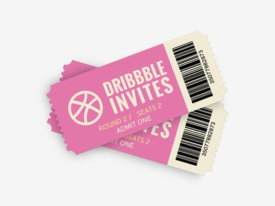 2 Dribbble Invite Tickets thanks ticket talent new give away invite