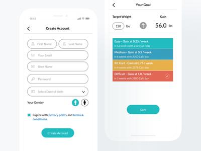 IphoneX Health App ux medical list radio button weight goal sign up health ui iphonex