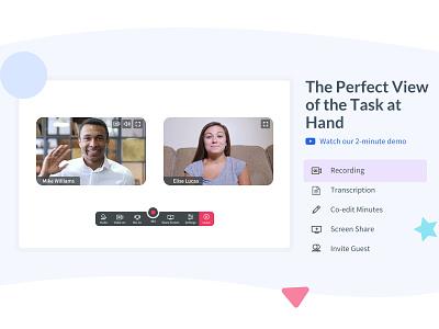 Video Conference share screen transcription recording interaction design call conference integration add video slack