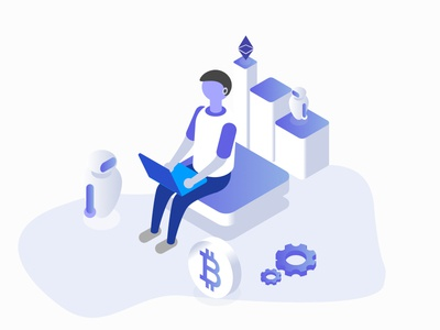 Blockchain Learning elearning remote sketch illustration blockchain learning ether robot education learning bitcoin blockchain
