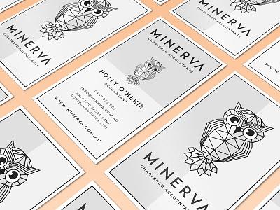 Minerva Businesscards geometrical stationary product print pattern owl mockup logotype flat cards business branding