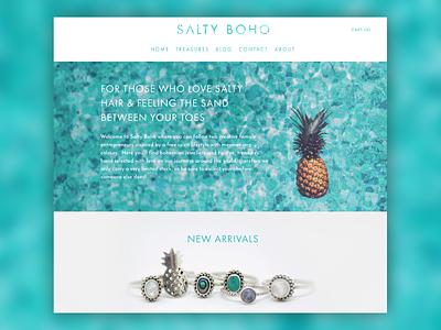 Salty Boho Website Design - Landing Page jewellery bohemian pineapple online shop ecommerce ecom ui ux website landing page web design