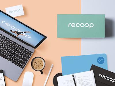 Recoop Vitamins Branding concept minimalistic stationary product print mockup logotype flat cards business branding