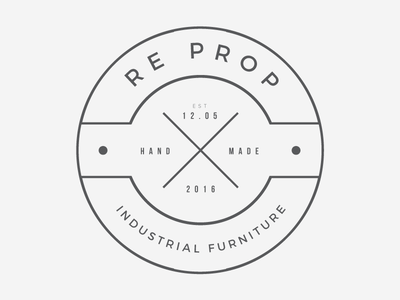 Re Prop Industrial Furniture Logotype industrial logo outline flat hipster art simple print branding logotype