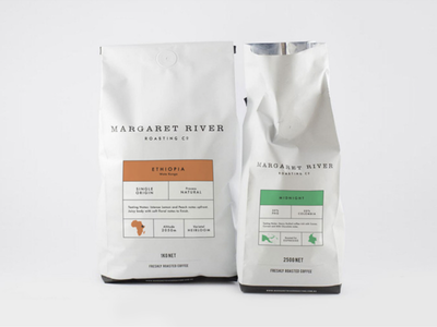 Margaret River Roasting Co. Package Desgisn sticker package simple minimalistic label coffee print product design