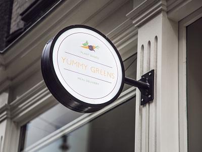 Yummy Greens Logo - Streetsign colorful industrial logo outline flat hipster art simple print branding logotype