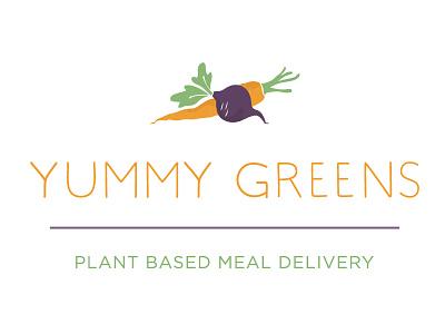 Yummy Greens Logotype colorful logo outline flat hipster art simple print branding logotype