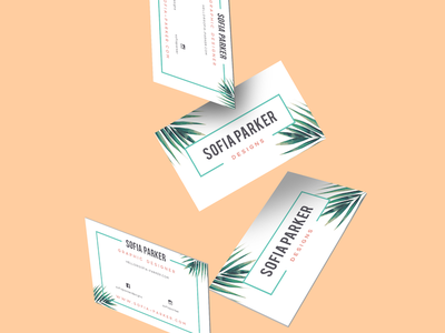 Business Cards - Personal Business palm stationary product print pattern tropical mockup logotype flat cards business branding