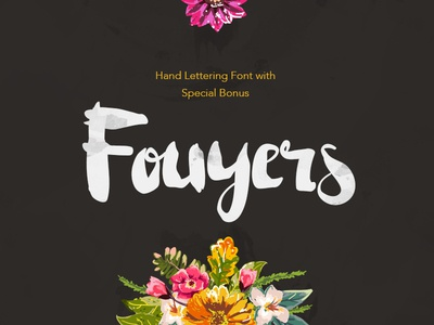 Fouyers + Bonus Badges & Vectors handmade handwriting typography lettering floral script font fouyers