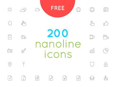 Free download 200 nanoline icon set website web app mobile ux ui icon vector minimal line download free