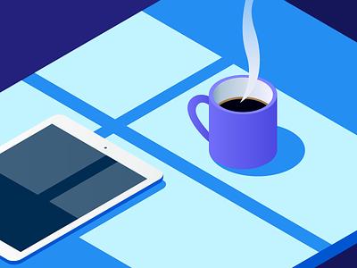 Morning. illustration vector light breakfast morning tablet ipad window coffee