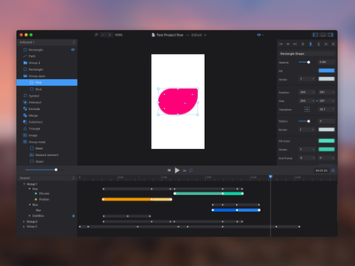 Flow. Dark Theme. prototype animation tool design os macos app ux ui interface theme dark