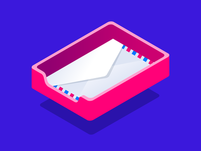 Inbox. 3d isometric vector illustration notification email mail message inbox