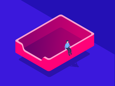 Inbox Zero. 3d isometric vector illustration person people notification email mail message inbox