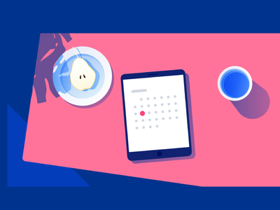 Calendar. vector interface ipad glass water pear home table illustration calendar