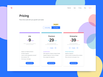 Pricing. website pricing grid ux ui trial sign up call landing phone