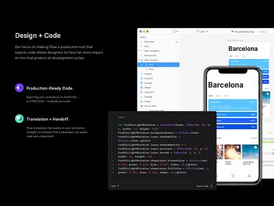Flow. Design and Code. handoff app mac os interface animation sketch ui export code design