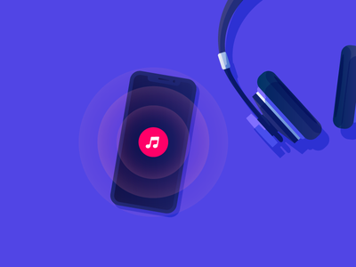 Music. WIP. illustration vector waves listen ios itunes headphones music