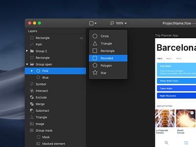 Flow. Mojave. WIP. design tool hig apple interface ui dark ui dark mode mojave mac macos app flow
