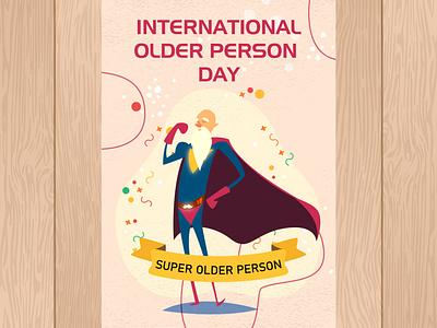 International Older Day international day design illustration creative card designing graphic design day international older day