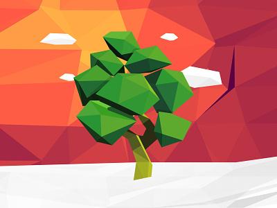 Polygon Tree tree illustration clouds low poly polygon