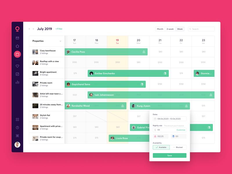 Calendar layout app smartbnb timeline pricing availability reservation calendar ui calendar