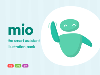 Mio - the smart assistant illustration pack pose expressive mascot character future smart illustration set ai assistant robot smart assistant illustration
