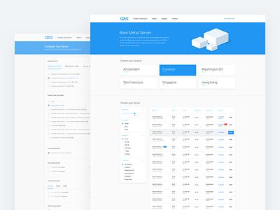 O2V2 server hosting tool dashboard web design material design