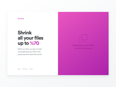 Shrink.it web app clean divided layout file minifier minify shrink