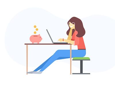 Make money illustration piggy bank usability testing make money website illustration
