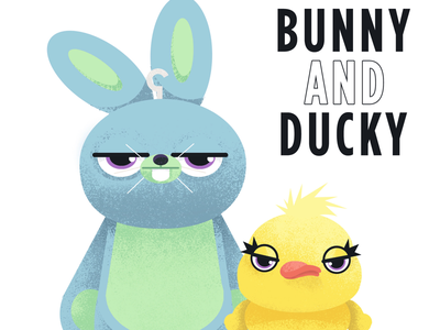 bunny and ducky illustration