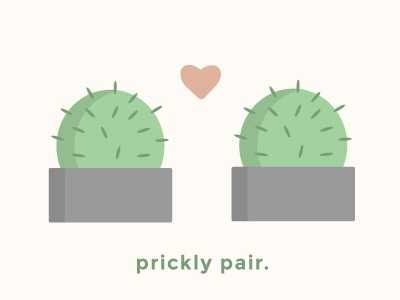 Prickly Pair flat simple love heart pair prickly valentines valentine cacti cactus funny pun