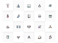 color line icon sets for christianity