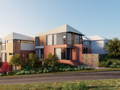 Exterior of modern townhouses in Australia 3d view 3d modeling 3d rendering street australian townhouse houses facade architectural visualization cgi visualization arhitecture