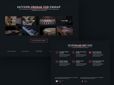 Another Sections of Music Store Landing Page