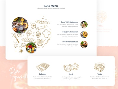 Food Homepage Web Design - other section