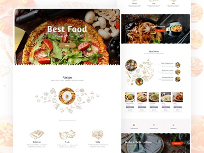 Food Homepage Web Design - Full Page homepage food restaurant website elementor web ui ux templates design