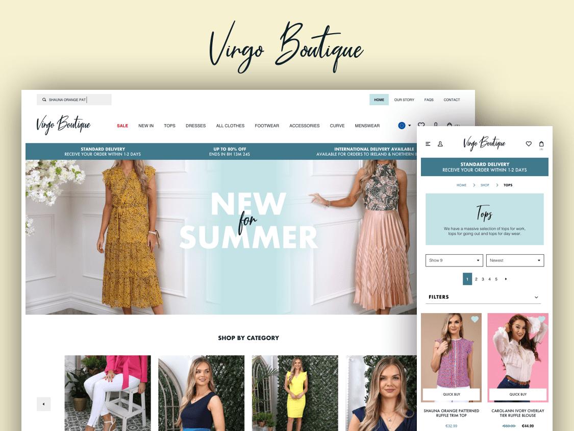 Virgo Boutique Shopify eCommerce Website website design wireframe design wireframing website design clothing brand fashion brand ui design ux design ecommerce design ecommerce shopify theme shopify plus shopify