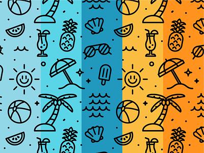 Summer pattern pattern summer outline grid design illustration dribbble adobeillustrator vector artwork art