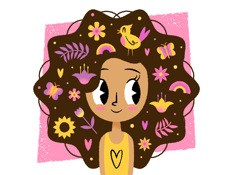 Summer hairstyle texture flat  design design colored illustration dribbble adobeillustrator vector artwork art