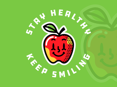 Apple charm stickermule outline design colored illustration dribbble adobeillustrator vector artwork art