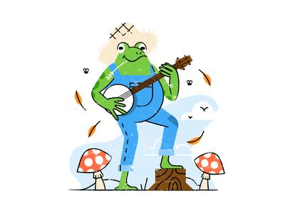 Frog playing banjo texture flat  design design colored illustration dribbble adobeillustrator vector artwork art