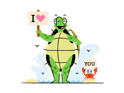 Turtley love you texture flat  design design colored illustration dribbble adobeillustrator vector artwork art