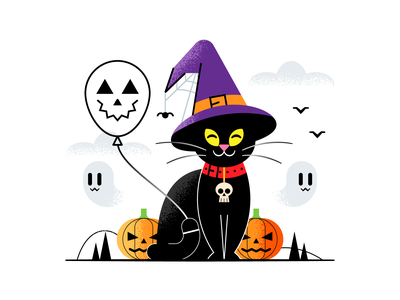 Witchcat halloween texture flat  design design colored illustration dribbble adobeillustrator vector artwork art