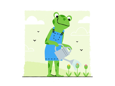 Frog gardener brushes texture design colored illustration dribbble adobeillustrator vector artwork art