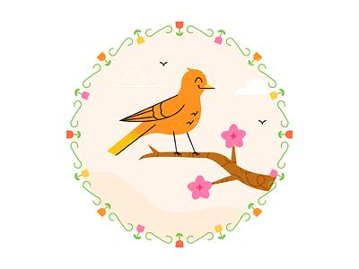Spring Birdie texture flat  design design colored illustration dribbble adobeillustrator vector artwork art