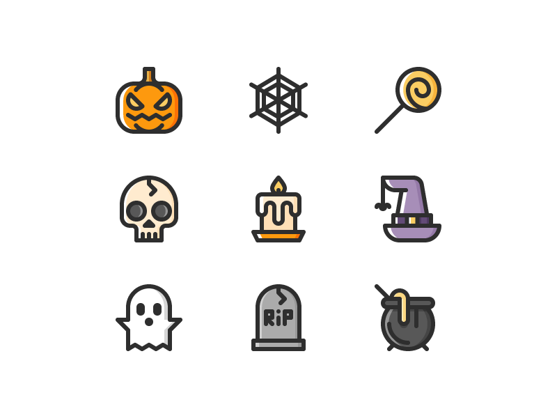 Halloween cl icons dribbble
