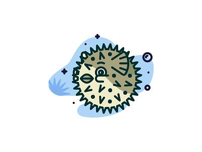 Puffer fish pufferfish grid illustration dribbble adobeillustrator vector colored outline artwork art